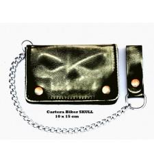 VINTAGE Wallet mit Metallkette (10 x 15 cm) - Elfenbein Schädel -