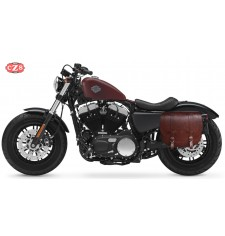 Alforja para Sportster Forty-Eight Harley Davidson - 2018 - mod, BANDO Específica - Marrón - Hueco Amortiguador - IZQUIERDA