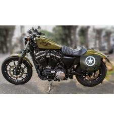 Alforja para Sportster 883/1200 Harley Davidson mod, SPARTA - Army Star - Verde militar - IZQUIERDA - Específica