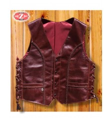 Custom leather vest - Braided - Brown