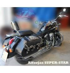 Alforjas Rígidas para Kawasaki Vulcan 900 mod, SUPER STAR Básica - Calavera Tibias TEX - Específica