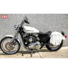 Alforja para Sportster Harley Davidson mod, BANDO Básica Específica - Blanco - Hueco Amortiguador - IZQUIERDA