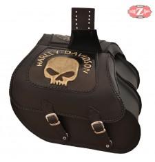 Alforjas Rígidas para Sportster Harley Davidson mod, TEMPLARIO Trenzados - Hueco Amortiguador - Skull HD