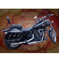 Alforjas Rígidas para Softail Nigth-Train Harley Davidson mod, IBER Trenzados - Cruz Llamas - Específica