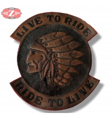 Parche personalizado LIVE TO RIDE Jefe Indio Marron