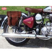 Alforja para Royal Enfield Bullet Classic 350/500cc mod, CENTURIÓN Específica - Marrón - DERECHA