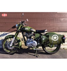 Alforja para Royal Enfield Battle Green mod, SPARTA - Army Star - Verde Militar - IZQUIERDA - Específica