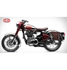 Alforja para Royal Enfield Bullet Classic 350/500cc mod, CENTURIÓN Específica - Marrón - IZQUIERDA