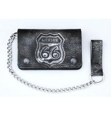 Portefeuille VINTAGE avec Chaîne en Mètal (10 x 15 cm) - RUTA 66 Noir -