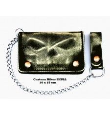 VINTAGE Wallet with Metal Chain (10 x 15 cm) - Ivory SKULL -