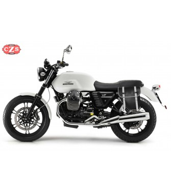 Alforja para Sportster Harley Davidson mod, CENTURION Específica - Negro/Blanco - Hueco Amortiguador - IZQUIERDA
