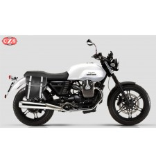 Saddlebag for Guzzi V7 mod, CENTURION Adaptable - Black/White - RIGHT