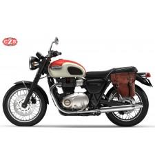 Alforja para Triumph Bonneville T100/T120 mod, CENTURIÓN Adaptable - Marrón - IZQUIERDA