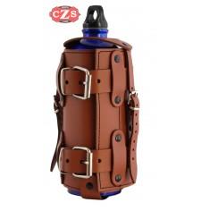 Porta-botellas Regulable para motos Custom y Clásicas - Marrón Cuero