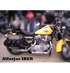 Alforjas Rígidas para Sportster Harley Davidson mod, IBER Clásicas Trenzados - Tribal - Adaptables