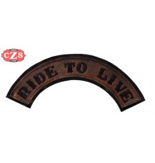 Embossed leather patch mod, RIDE TO LIVE - Brown -