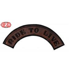 Parche Repujado en Piel mod, RIDE TO LIVE - Marrón alto -
