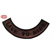 Embossed leather patch mod, LIVE TO RIDE - Brown -