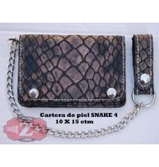 Portefeuille avec Chaîne en Metal mod, SERPENT (10 x 15 cm) - Noir Vintage -