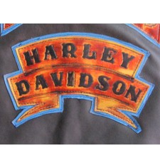 Embossed leather patch mod, HARLEY DAVIDSON - Flames -