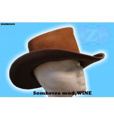 Sombrero de Piel mod, J-WINE - Marrón Cuero -