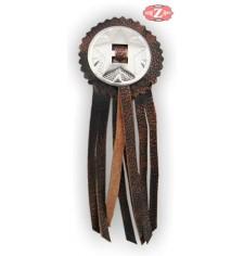 Concho avec étoile et frange en cuir - Brun Vintage -