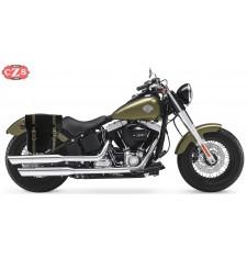 Alforja para Softail Slim Harley Davidson mod, CENTURION Negra Correas Verdes - Adaptable - DERECHA
