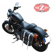 Alforja para Sportster 883/1200 Harley Davidson mod, BANDO - Hueco para el amortiguador - Bicolor B/N -