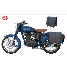 Saddlebags set for Royal Enfield Classic 500 Squadron Blue mod, TRAJANO - Old Rat - Specific