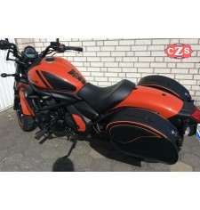 Rigid Saddlebags for Kawasaki Vulcan S 650 - 2018 - mod, VENDETTA Specific - Orange Profile -