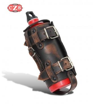 Porta-botellas Regulable para motos Custom y Clásicas - Marrón