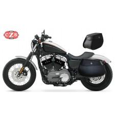 Alforjas para Sportster 883 - 1200CC- Harley Davidson con hueco para alojar el amortiguador mod, PIZARRO Bloque - Específicas