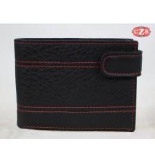 Portefeuille en cuir fait main - Noir avec coutures rouges -