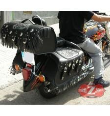 Custom Starr Satteltaschen für Yamaha Drag-Star mod, DOSCAS Klassische Celtic Fransen - Big boss - Spezifische