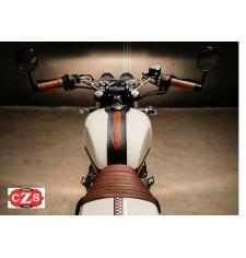 Panneau de réservoir pour Corbata Royal Enfield Continental GT mod. ORION - Noir bicolore avec marron