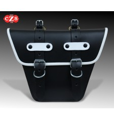 Saddlebag for Classic motorcycles mod,MARBELLA Cafe Racer style - UNIVERSAL - Black/White