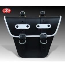 Satteltasche für klassische Motorräder mod, MARBELLA Cafe Racer Style - UNIVERSAL - Schwarz/Weiß