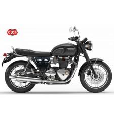 Satteltasche für Triumph bonneville T120/T100 mod, MARBELLA Cafe Racer Style - Schwarz/Weiß