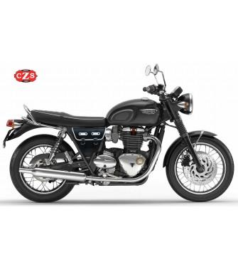 Alforja para motos Clásicas MARBELLA estilo Cafe Racer  - Universal - Negro/Blanco