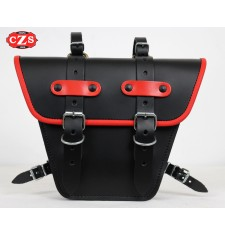 Saddlebag for Classic motorcycles mod,MARBELLA Cafe Racer style - UNIVERSAL - Black/Red
