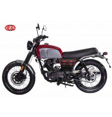 Sacoche pour Brixton BX 125X mod, MARBELLA style Cafe Racer - Noir/Rouge