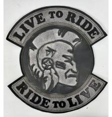 Patch Vintage personnalisé - LIVE TO RIDE - Cheroky - Gris -