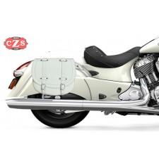 Satteltaschenset für Indian® Cheif® Classic mod, BANDO - Weiß - KLICKFIX-system -