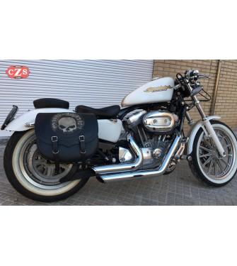 Alforja para Sportster Harley Davidson mod, SPARTA - Hueco para el amortiguador - Skull CZ HD - DERECHA