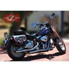 Sacoche latèrale pour Softail Harley Davidson mod, BANDO Basique Spécifique Bicolor - Noir/Rouge -
