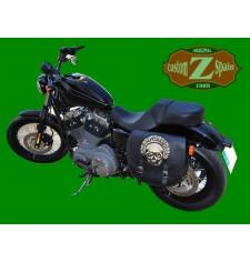 Alforja para Sportster Harley Davidson mod, SPARTA - Hueco para el amortiguador - Skull CZ HD - IZQUIERDA
