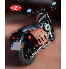Set de Alforjas para Sportster Harley Davidson mod, TRAJANO Básica - Marrón Cuero - Hueco para el amortiguador -