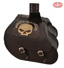 Alforjas Rígidas para Sportster Harley Davidson mod, TEMPLARIO Trenzados - Hueco Amortiguador - Skull HD