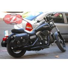 Sacoches Rigide pour Dyna Street Bob Harley Davidson mod, TEMPLARIO Basique Tressé - Crâne - Spécifique