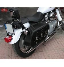 Alforjas Rígidas para Sportster Harley Davidson mod, IBER Básica Trenzados - Coco - Adaptables